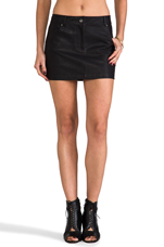 Groove Faux Leather Skirt in Black