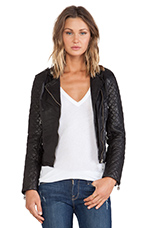 Quilted Sleeve Moto in Black