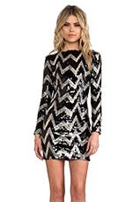 Lola Long Sleeve Mini Dress in Black & Tan
