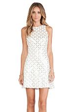 Mia Dress in White & Gold Maze