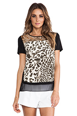 Becky Printed Blouse in Feather Leopard