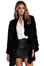 Kimono Elijah Rabbit Fur Coat in Black