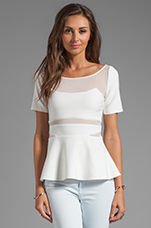 Selena Peplum Top in White