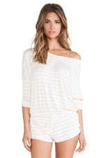 Lounge Stripe Slouchy Tee in Shell