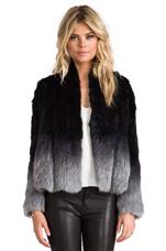 Angel Fur Jacket in Grey Dip Dye
