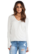 Cashmere Loose V Sweater in Ash
