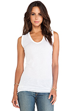 Tissue Jersey Bold Sleeveless Top in White