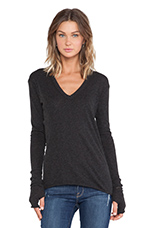 Cashmere Jersey Cashmere Loose V in Charcoal