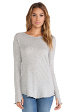 Tissue Jersey Long Sleeve Raglan in Light Heather Grey