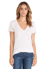 Loose Short Sleeve V Tee in Oyster