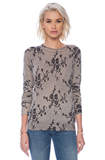 Sloane Floral Lace Crew Neck in Nude Multi