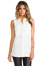 Sleeveless Signature Blouse in Nature White