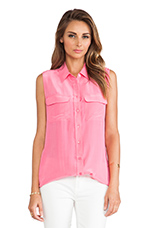Sleeveless Slim Signature Blouse in Hot Pink