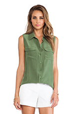 Sleeveless Slim Signature Blouse in Military Green
