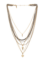 Pyramid & Spike Layered Necklace in Mixed Metal