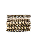 Friendship Bracelet Stack in Cream & Brass