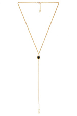 Dainty Lariat Necklace in Black Gold