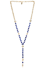 Rosary Necklace with Pyramids and Spikes in Blue