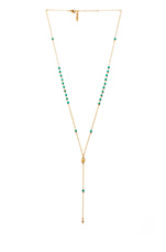 Dainty Pyramid Lariat with Beads in Gold & Turquoise