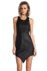 Frankenstein Leather Mini Dress in Black