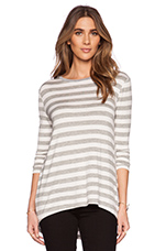 Chain of Fools Long Sleeve Top in Grey Marle & White Stripe