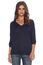Slouchy V Neck Sweater in Navy
