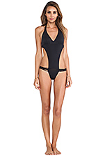 Josie Seamless Twisted Braided One Piece in Black