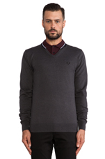 Classic V-Neck Sweater in Graphite Marl