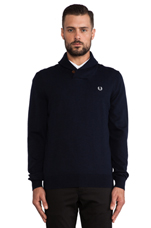 Classic Shawl Neck Cardigan in Navy Marl