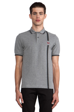 45's Vertical Print Polo in Steel Marl