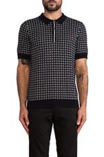 Drake Knitted Tennis Shirt in Navy & White