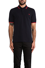 Twin Tipped Fred Perry Shirt in Navy &  Blood