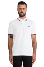 Twin Tipped Fred Perry Shirt in White & Bright Red & Navy