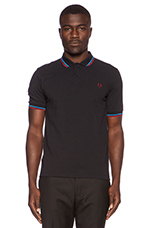 Twin Tipped Polo in Navy Clear Blue Rosso