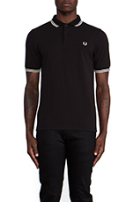Slim Fit Twin Tipped Polo in Black/Porcelain