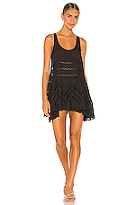 Lace and Voile Trapeze Dress in Black Combo