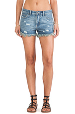 Rugged Ripped Denim Short in True Blue