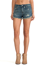 Rugged Ripped Denim Short in Eagle Wash