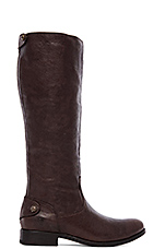 Melissa Button Back Zip Boot in Dark Brown