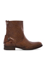 Melissa Button Zip Short Boot in Brown