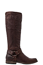 Phillip Harness Tall Boot in Dark Brown