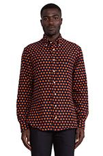 Portuguese Flannel Button Down in Dot Orange