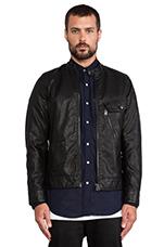 Defend Slim 3D Vegan Leather Jacket in Black