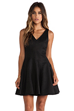 Ava Python Fit n Flare Dress in Black