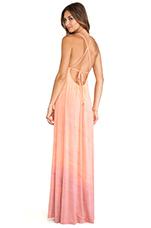 Desouk Tie Back Maxi Dress in Peach & Rose