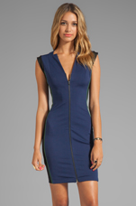 Sleeveless Zip Front Ponte Dress With Colorblock Detail in Midnight/Black/Loden