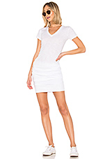 Shirred Tee Dress in White