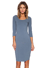 Heavy Stretch Cotton 3/4 Sleeve Dress in Blue Steel
