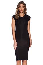 Lycra Rib Cap Sleeve Dress in Black
