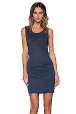Linen Jersey Sleeveless Dress in Vintage Blue